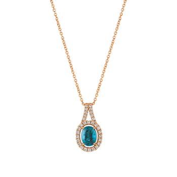 Blueberry Zircon with Vanilla Diamonds Set in 14k Strawberry Gold Necklace