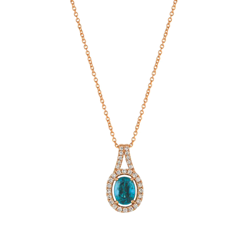 Le Vian Blueberry Zircon with Vanilla Diamonds Set in 14k Strawberry Gold Necklace