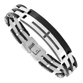 "Steel-Black Ion Plating Cross Men's Bracelet 8.5"""