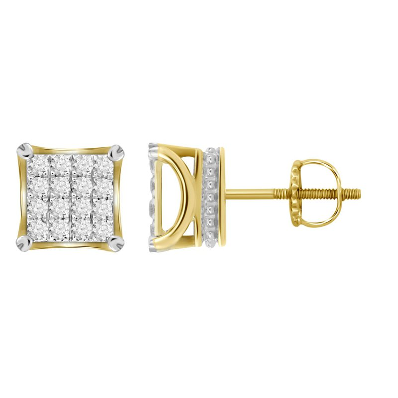 Saslow's & Henebry's Collection .50ctw Square Cluster Earrings