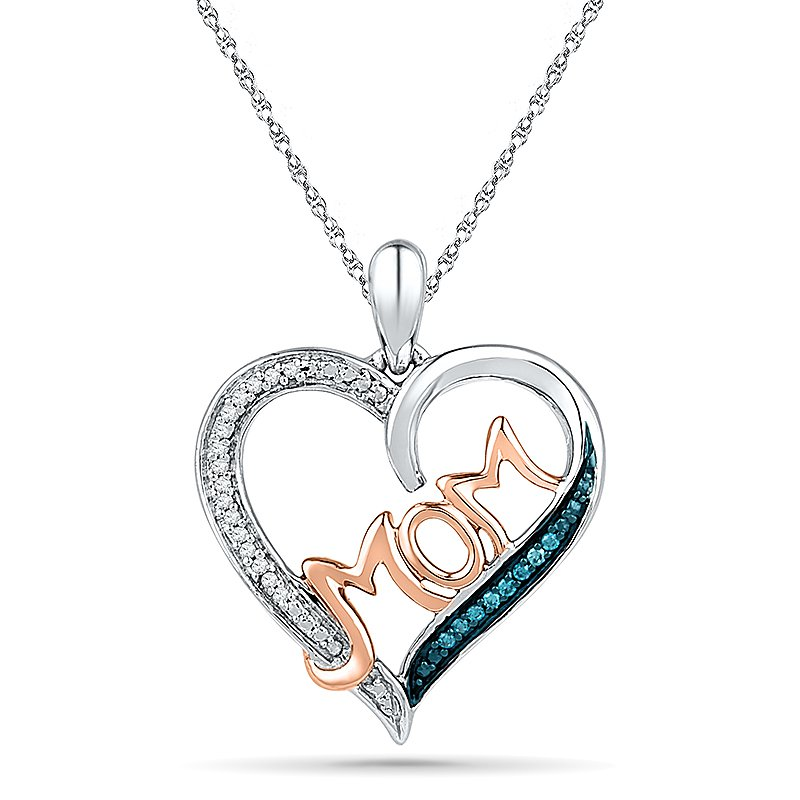 Gifts That Rock MOM Heart Pendant  0.03 CTTW Sterling Silver with Diamond