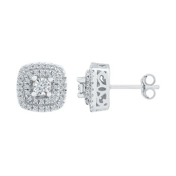 .25ctw Square Cluster Earrings