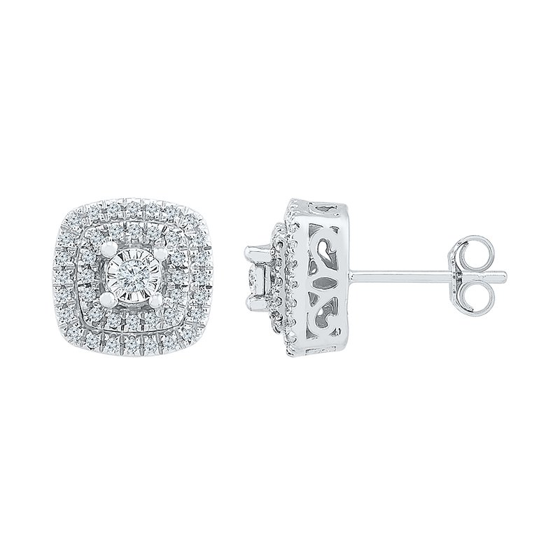 Saslow's & Henebry's Collection .25ctw Square Cluster Earrings