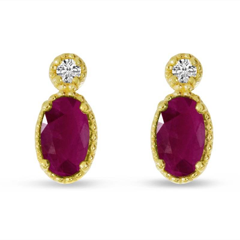 Birthstone Collection 14K Yellow Gold Oval Ruby Millgrain Birthstone Earrings