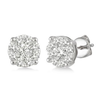 Breathless Cluster Stud Earrings .15ctw-1ctw