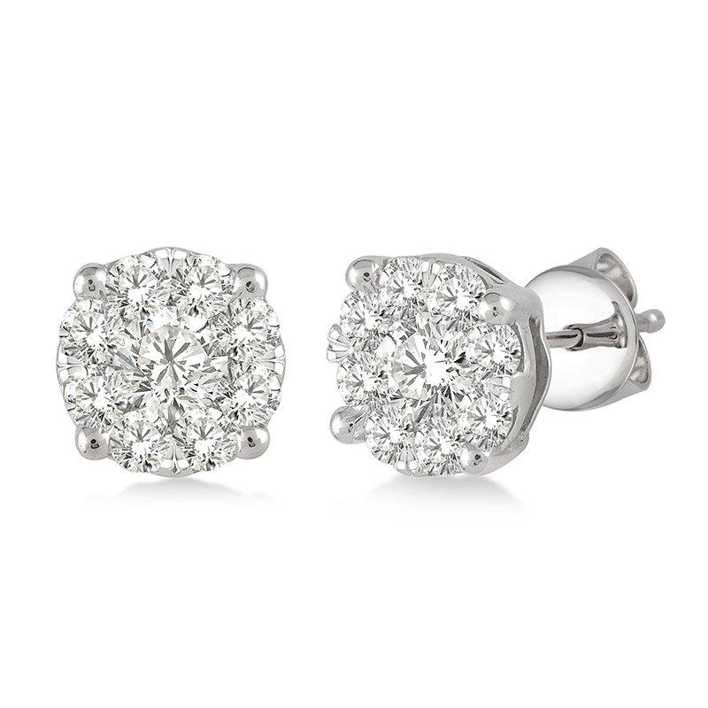 Saslow's & Henebry's Collection Breathless Cluster Stud Earrings .15ctw-1ctw