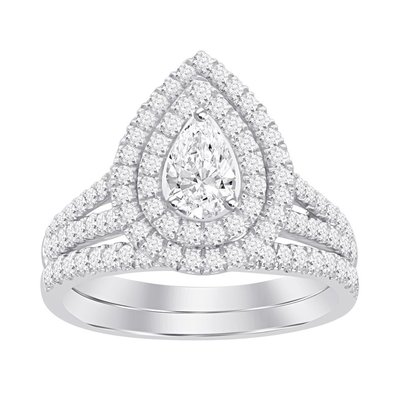 Promise Forever Certified 14k 1 ctw Pear Cut Double Halo Bridal Set