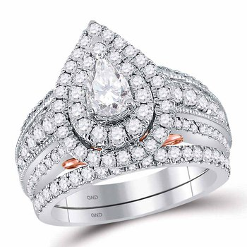 2 CT-DIA 1/2CT-CPEAR BELLISSIMO BRIDAL RING