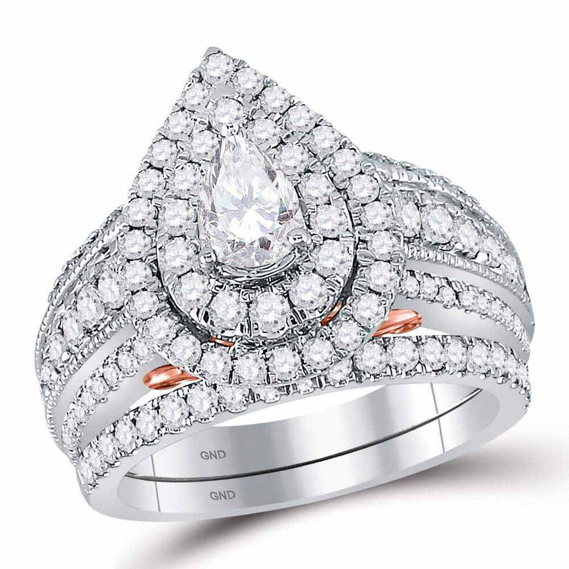 Bellissimo 2 CT-DIA 1/2CT-CPEAR BELLISSIMO BRIDAL RING