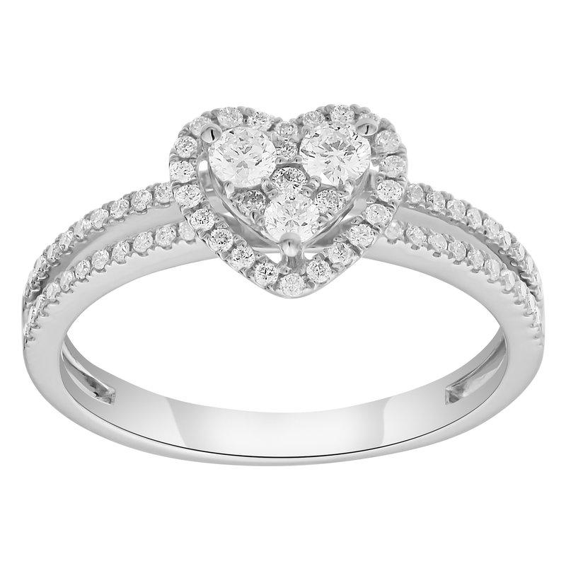 Lab Grown Diamonds WG .43ctw Lab Grown Cluster Heart Ring