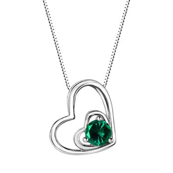 Emerald Double Heart Sterling Silver Pendant