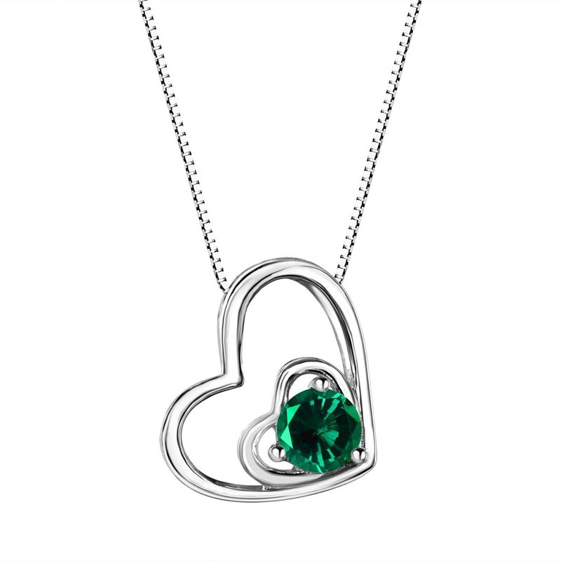 Birthstone Collection Emerald Double Heart Sterling Silver Pendant