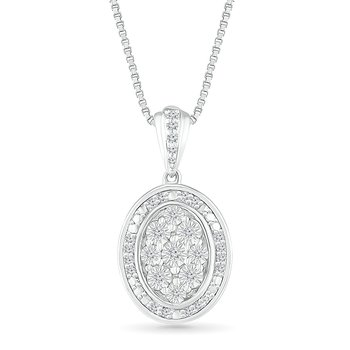 .10ctw Oval Cluster Diamond Necklace