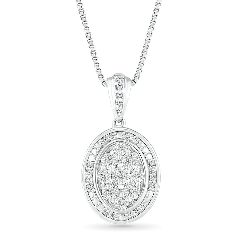 Gifts That Rock .10ctw Oval Cluster Diamond Necklace
