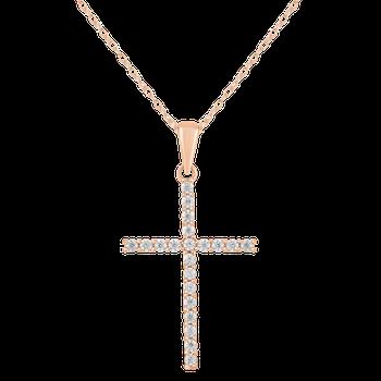 Rose Gold 1/4ctw Diamond Cross Pendant