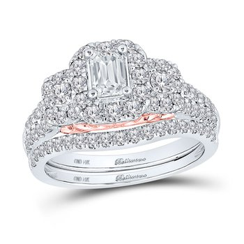 Certified 1.50ctw 3 Stone Emerald Cut Halo Bridal Set