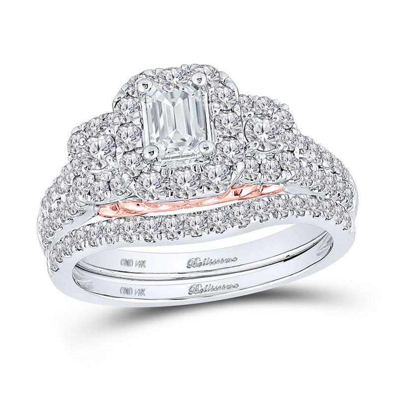 Bellissimo Certified 1.50ctw 3 Stone Emerald Cut Halo Bridal Set