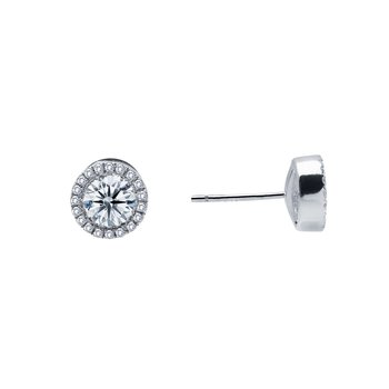 0.8 CTW Halo Stud Earrings