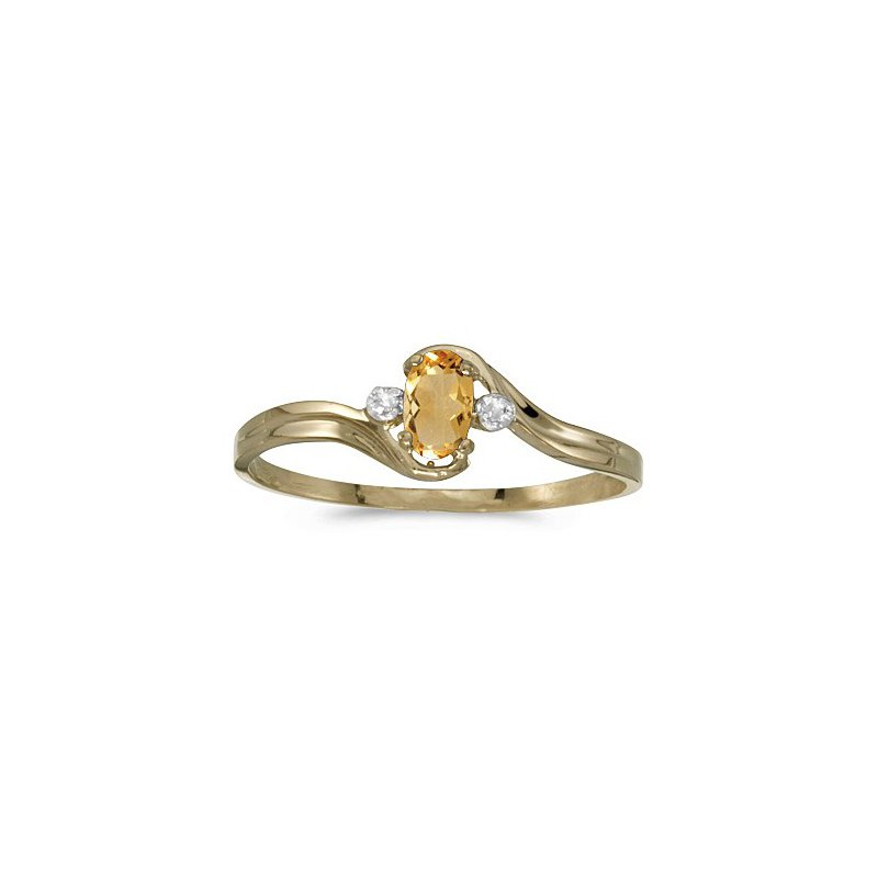 Birthstone Collection 10K Yellow Gold Oval Citrine And Diamond Ring