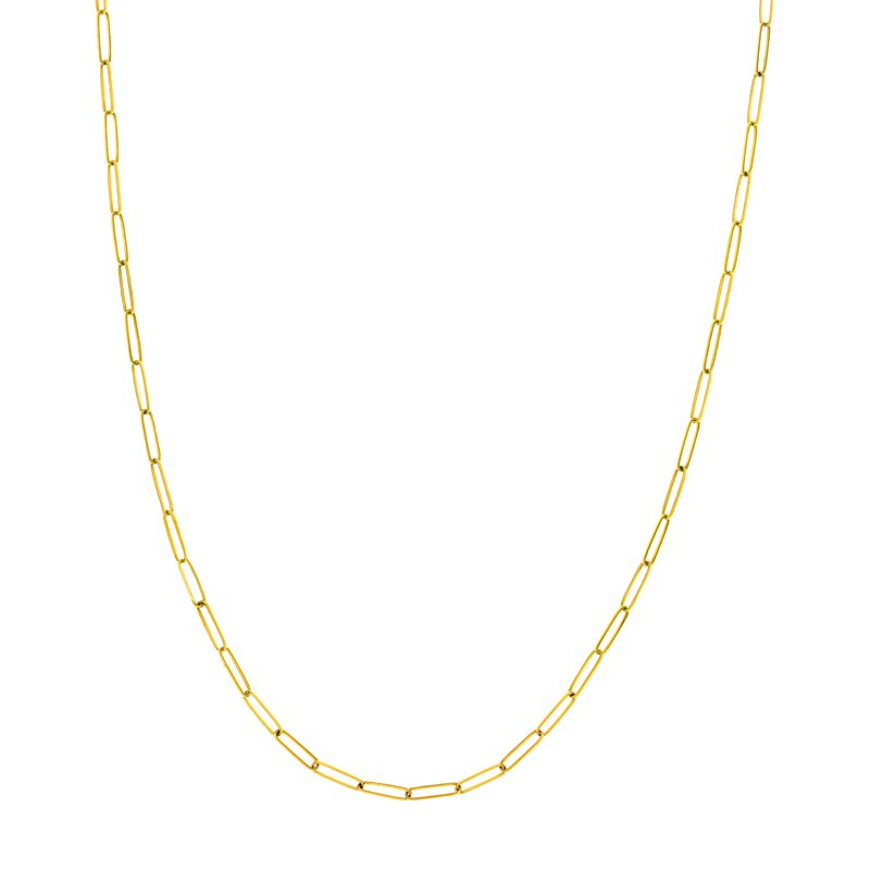 """Gold Chains and Bracelets  YG 18"""" 2.6M Paper Clip Necklace"""