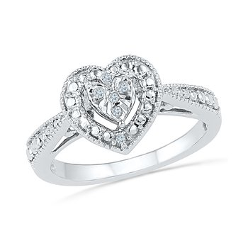 SS DIAMOND HEART PROMISE RING