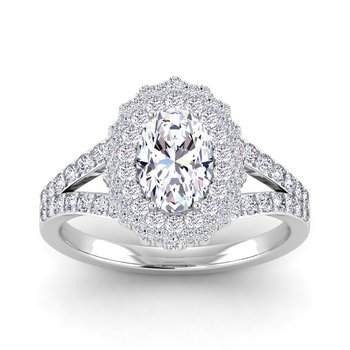Certified 1 3/4ctw Double Halo Engagement Ring