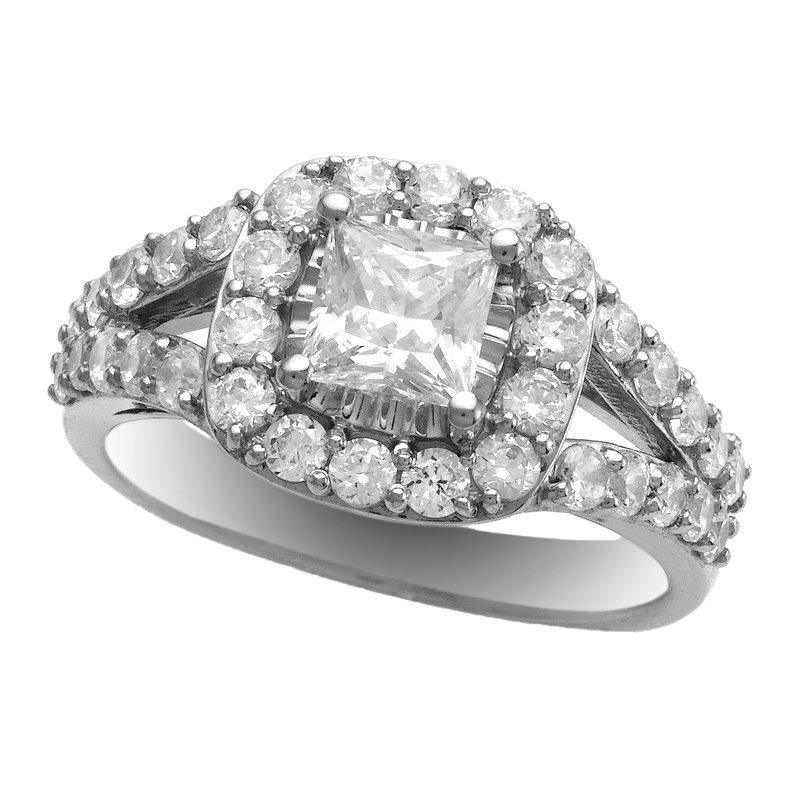 Promise Forever 2.07ctw Princess Cut Halo Bridal Set