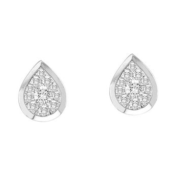 .33ctw Pear Shaped Bezel Earrings