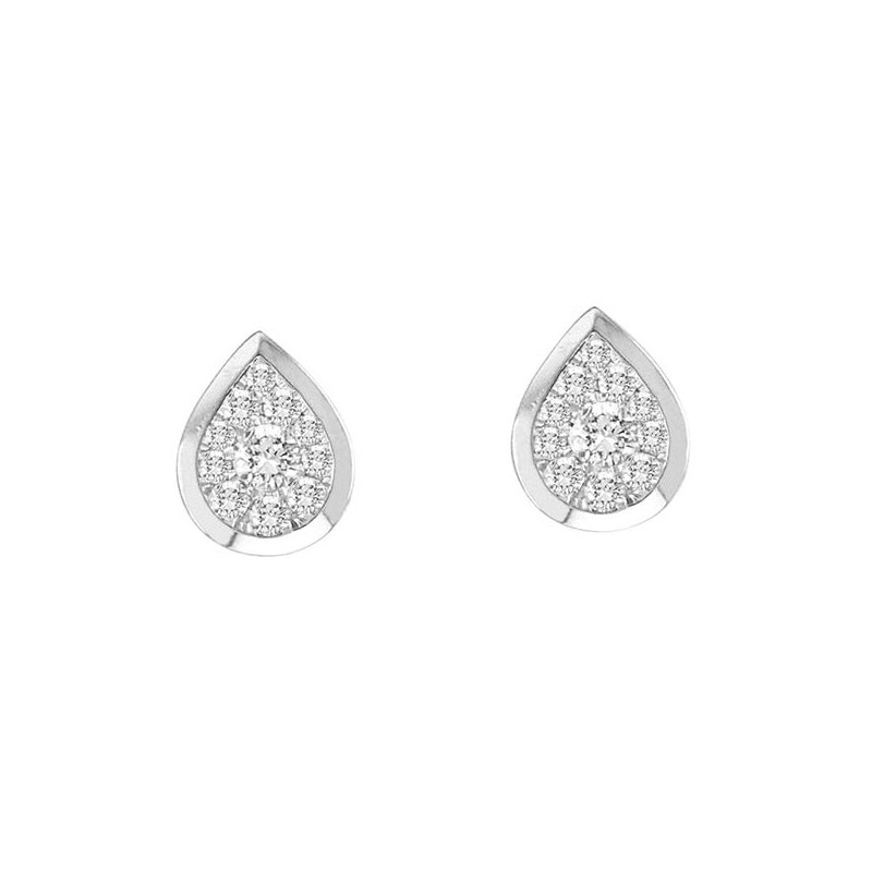 Saslow's & Henebry's Collection .33ctw Pear Shaped Bezel Earrings