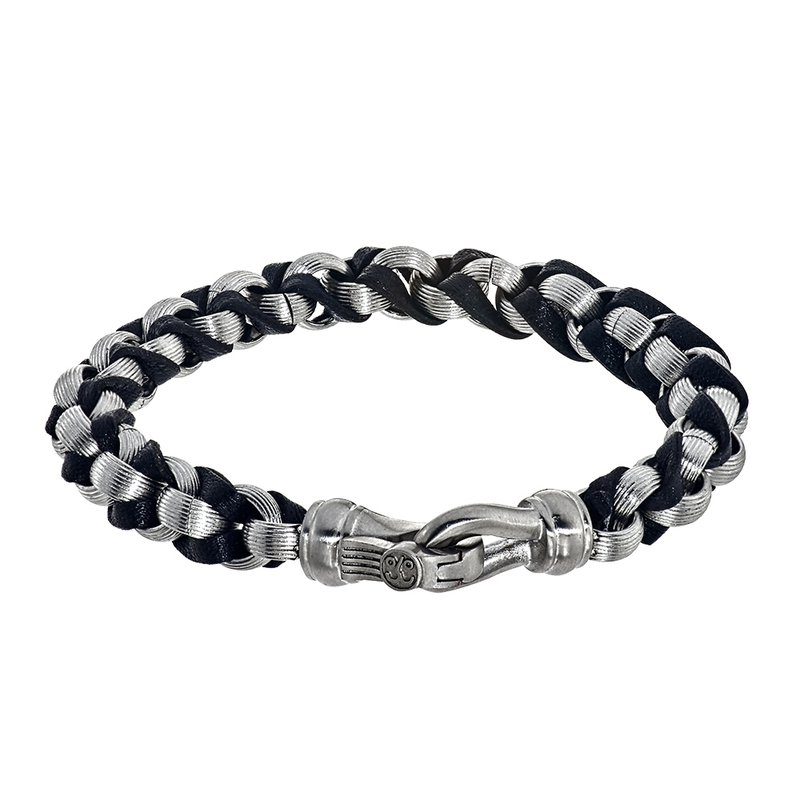 Esquire Men's Jewelry Leather and Steel Rollo Chain Bracelet