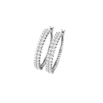 10KW 1 ctw Diamond Hoop Earrings
