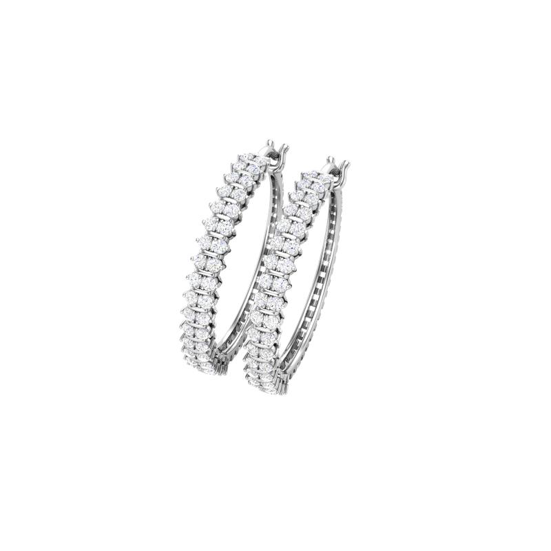 Lab Grown Diamonds 10KW 1 ctw Diamond Hoop Earrings