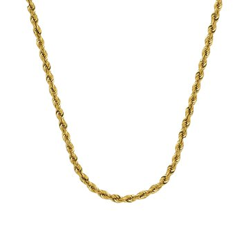 "24"" 10K 4.4mm Diamond Cut Rope Chain"