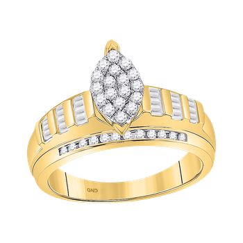 10KY Marquise Cluster Ring