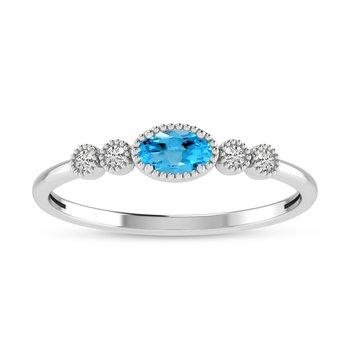 10K White Gold Oval Blue Topaz and Diamond Birthstone Ring