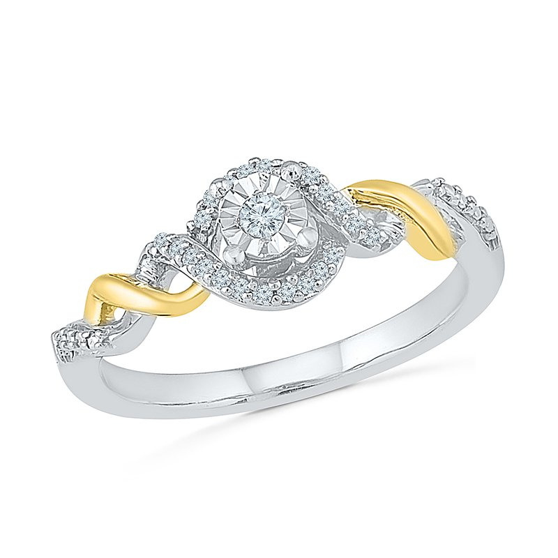 Gifts That Rock Two Tone Twisted Band Promise RIng