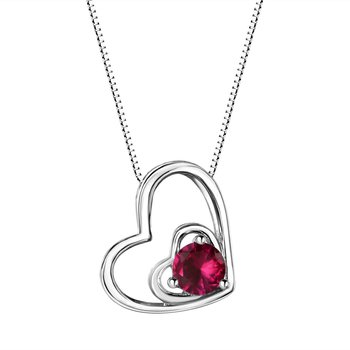 Ruby Double Heart Sterling Silver Pendant