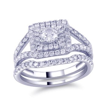 14K WG 1 1/3ctw 1/3 Ct Center Surrounded By 1ct Colorless Diamonds