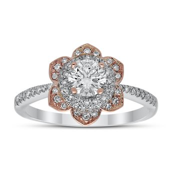 14kt Two Tone .80ctw Diamond Flower Engagement Ring