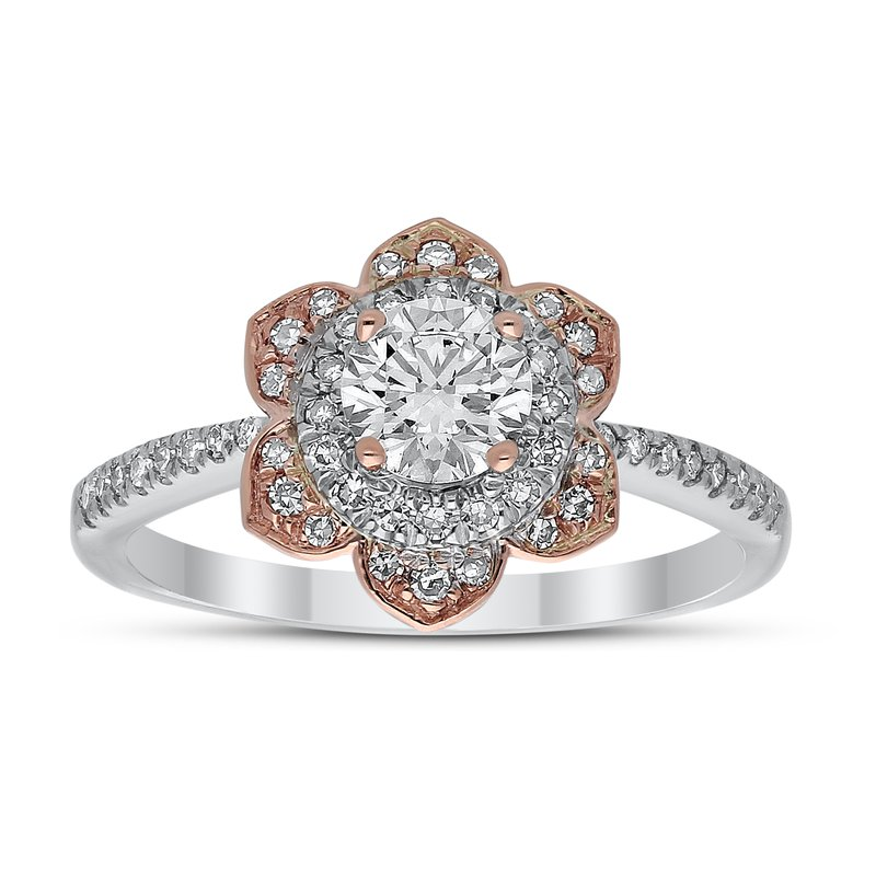 Lab Grown Diamonds 14kt Two Tone .80ctw Diamond Flower Engagement Ring