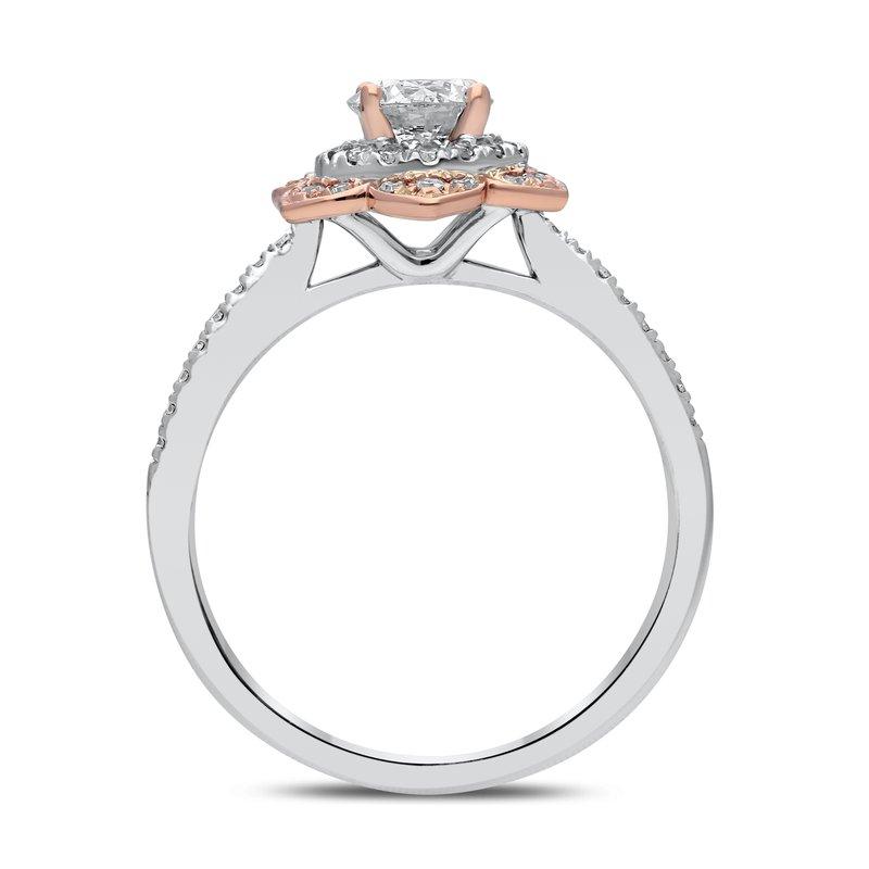 Lab Grown Diamonds 14kt Two Tone .80ctw Diamond Flower Engagement Ring