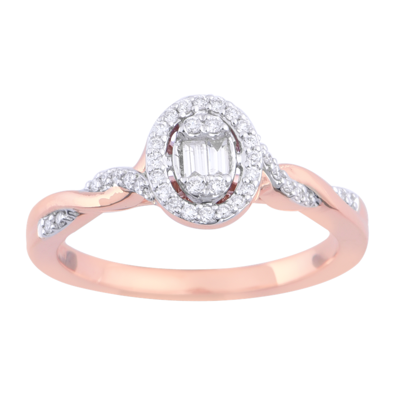 Saslow's & Henebry's Collection 1/5ct Oval Halo Promise Ring