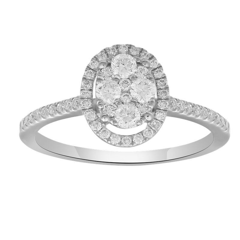 Lab Grown Diamonds .42ctw Diamond Oval Cluster Ring