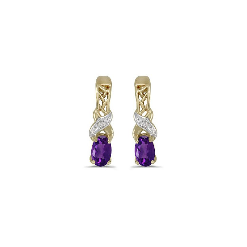 Birthstone Collection 14k Yellow Gold Oval Amethyst And Diamond Earrings
