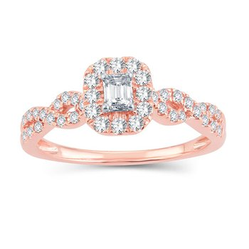 1/2 Ct Emerald Cut Rose Gold Engagement Ring