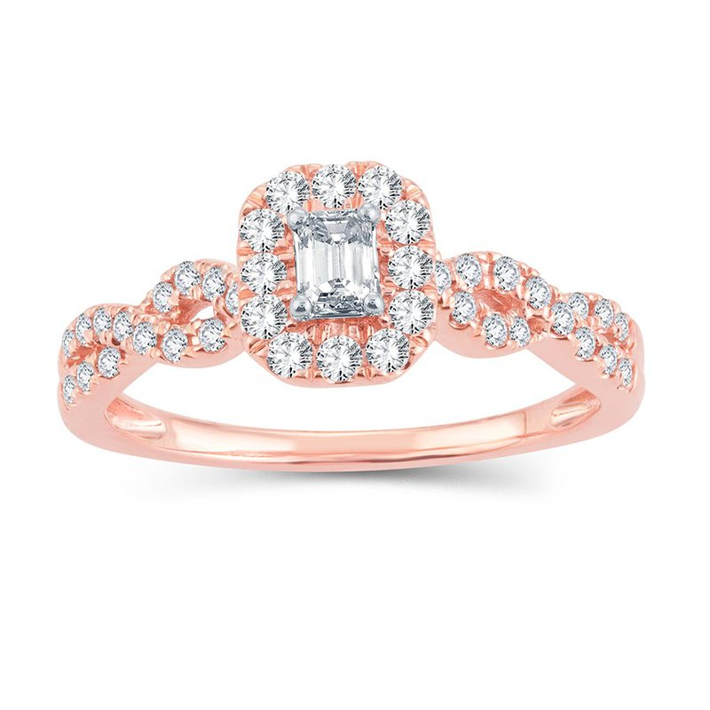 Promise Forever 1/2 Ct Emerald Cut Rose Gold Engagement Ring