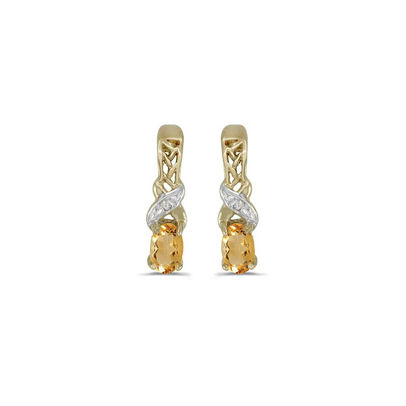 Birthstone Collection 14k Yellow Gold Oval Citrine And Diamond Earrings