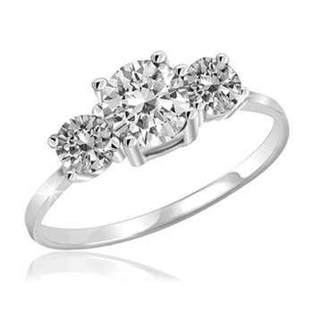 White Topaz 3 Stone Promise Ring