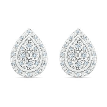 .10ctw Pear Shaped Diamond Cluster Earrings