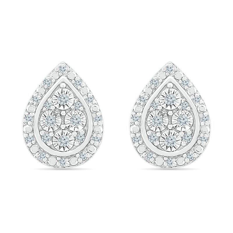 Gifts That Rock .10ctw Pear Shaped Diamond Cluster Earrings